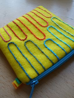 Meet Me Half Way embroidered felt pouch
