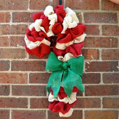 Candy Cane Burlap Wreath by KsSouthernCharm on Etsy