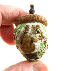 ~ Squirrel & Acorns In the Oak Tree  ~  Janie Comito 2017 OOAK Acorn Emery
