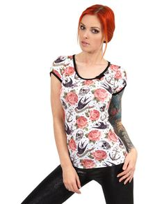 Liquor Brand Damen ROSE TATTOO T-Shirt.Oldschool,Tattoo,Pinup,Custom,Biker Style