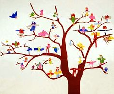 cut paper birds - each as different as the artist who made it