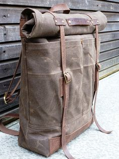 Waxed canvas rucksack/backpack with roll up top and waxed leather shoulderstrap,handle and leather bottem COLLECTION UNISEX Waxed canvas rucksack/backpack with roll up top and waxed leather shoulderst Rucksack Backpack, Leather Backpack, Leather Bag, Hiking Backpack, Travel Backpack, Waxed Canvas, Canvas Leather, Mochila Formal, Crea Cuir