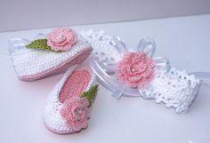 Zapatillas de bailarina de bebé del ganchillo y por LeftyStitches