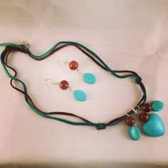 Turquoise heart bead and suede leather necklace with coordinating earrings by HaydeeDesigns on Etsy https://www.etsy.com/listing/216499546/turquoise-heart-bead-and-suede-leather