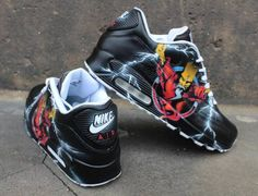 Custom Painted Nike Air max 90 Thunderdome Techno Sneaker Art