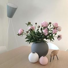 Grey, blush and white Cooee vases with peonies AND the gorgeous Normann Copenhagen wading bird - vignette goals