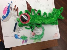 turning monster drawings into sculptures, thinking about 2nd or 3rd grade with clay the following week.