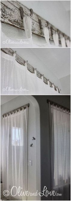 Bathroom Shower Curtain Rods with Reclaimed Wood. Rustic curtain rods made from reclaimed wood and hooks. DIY stylish curtain rods can brighten up your space.