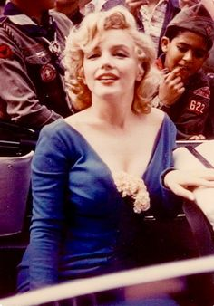Marilyn at Ebbets Field. Photo by James Collins, May 12, 1957.