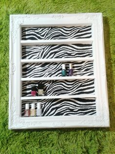 Zebra Glam Nail Polish and Makeup Display by DaintyCreations