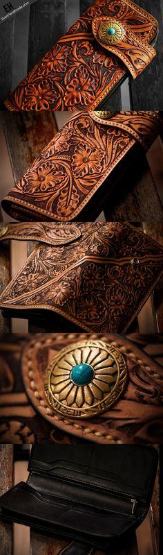 Handmade leather biker trucker wallet brown floral leather chain men Carved Tooled wallet