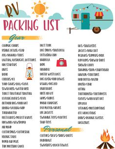 Don't forget anything on your next cam… Free RV checklist printable packing list. Don't forget anything on your next camping trip in your travel trailer. This free printable camping list has everything covered!