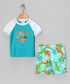 Take a look at this Blue Shark Rashguard & Swim Trunks - Infant, Toddler & Boys by Baby Buns on #zulily today!