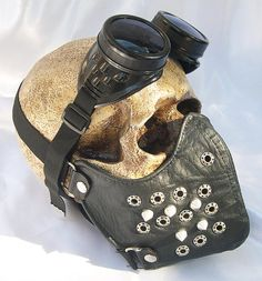 Black Faux Leather Steampunk Dust Riding MASK