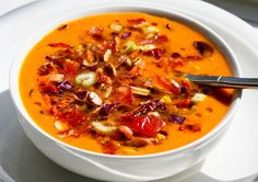 beautiful vegan: Raw Vegetable Soup With Almonds and Sun-dried Tomatoes...adding zucchini n red bell pepper