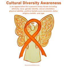 Cultural Diversity Awareness Ribbon Orange Guardian Angel Artwork