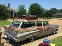 1957 Chevy Bel Air, Chevrolet Bel Air, Rat Rods, Classic Hot Rod, Classic Cars, Beach Wagon, Chevy Nomad, Rusty Cars, Diy Décoration