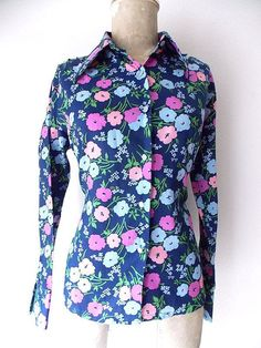 Pinup Floral Blouse Size Medium Rockabilly by JadeDesignVintage