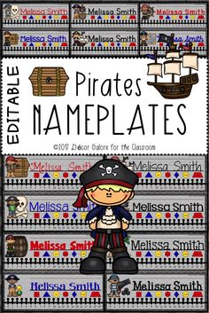 14 DIFFERENT Pirate Nameplates for your pirate themed classroom! Treasure chests and maps are fun themes in the elementary classroom. Students will love these nameplates featuring: ☠Pirates ☠Skull and Crossbones ☠Treasure Chests ☠Parrots ☠Ships ☠Ships' Wheel ☠Desert Island ☠Cannon ☠Barrel  This resource contains TWO VERSIONS of the nameplates:  An editable PowerPoint version that allows the buyer to edit the nameplates on his/her personal computer. It includes the names of the fonts used in…