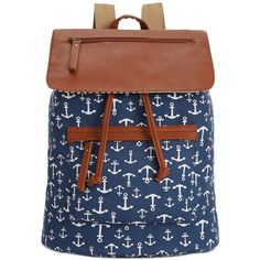 Madden Girl Bposted Backpack ($43) ❤ liked on Polyvore featuring bags, backpacks, navy white anchors, white floral backpack, pattern backpack, floral print canvas backpack, print backpacks and floral backpack