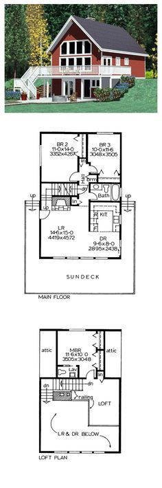 House Plan 90822 - Cabin, Country Style House Plan with 1263 Sq Ft, 3 Bed, 2 Bath Lake House Plans, Cabin Floor Plans, Small House Plans, Victorian House Plans, Victorian Homes, Tiny House Cabin, Cabin Homes, Small Floor Plans, Hillside House