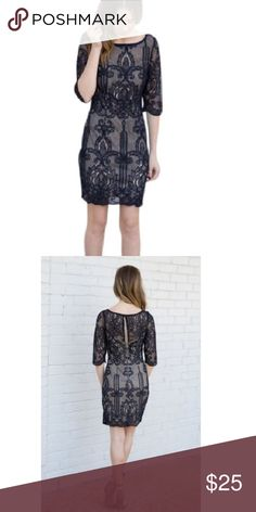 Navy lace overlay cocktail dress Purchased from an online boutique, size small. Fits more like an extra small. Never worn. Lace is a dark navy, with a nude tone lining. Perfect for a cocktail event. Dresses Mini
