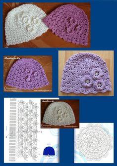 шапочка - Her Crochet Crochet Baby Boots, Crochet Cap, Booties Crochet, Crochet Beanie, Crochet Motif, Free Crochet, Newborn Crochet Patterns, Crochet Flower Patterns, Crochet Stitches Patterns