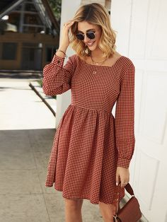 Check out this Houndstooth Print Square Neck Zipper Dress on Shein and explore more to meet your fashion needs! Cute Dresses, Casual Dresses, Casual Outfits, Summer Dresses, Women's Dresses, Frock Design, Look Boho Chic, Dress Outfits, Fashion Dresses