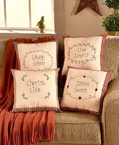 A Country Check Sentiment Pillow is the perfect accent for your country primitive decor. The burlap front is decorated with an inspirational saying that has the