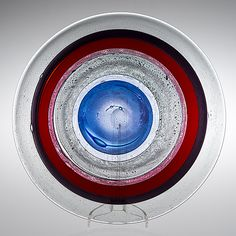 KAJ FRANCK - Art glass plate, Sign. Kaj Franck Nuutajärvi Notsjö, late 1960's, Finland. [Ø 37 cm] Glass Design, Design Art, Finland, Wind Chimes, Modern Contemporary, Circles, Scandinavian, Glass Art, Retro Vintage