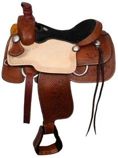 "16"" or 17"" Seat   Full Quarter Horse Bars  Roper Style saddle with suede leather seat. Saddle is double rigged and features roughout leather jockies. Saddle features combination of waffle pattern and floral tooling on skirts, fenders, pommel and cantle.  Saddle is accented with silver conchos."