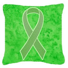 Carolines Treasures Lime Green Ribbon for Lymphoma Cancer Awareness Decorative Outdoor Pillow - AN1212PW1414