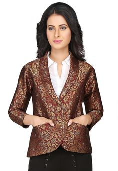 Art brocade silk jacket with taffeta lining Enhanced with zari woven and moulded buttons Bottom shown in image is for presentation purpose only