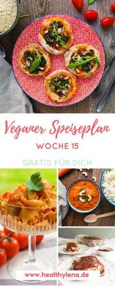 Mein veganer Speiseplan für die Woche 15 ist da! Es erwarten dich wieder spannende Rezepte, die du ganz easy nachkochen kannst. Viel Spaß dabei! Hier kommt der vegane Speiseplan für die Woche 15: vegan, vieles glutenfrei, ohne Soja & fettarm! #vegan #veganerezepte #rezepte #speiseplan #gratis