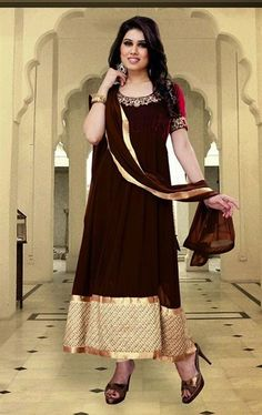 Picture of Classy Coffee, Red and Beige Color Anarkali Suit