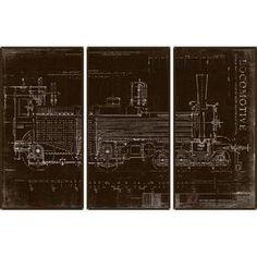 Locomotive Art Print (Set of 3)
