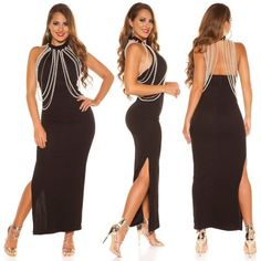 Dlhe spolocenske saty s perlami ciernej farby Backless, Bikini, Boutique, Formal Dresses, Fashion, Bikini Swimsuit, Dresses For Formal, Moda, Formal Gowns