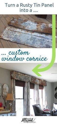 Farmhouse Decor: Rusty Tin Repurposed Cornice Board #farmhousedecor #farmhousestyle