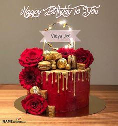 Top most romantic birthday cake with name for you to edit online for free. Send this as a birthday wish to your girl friend, boy friend or husband wife. Birthday Cake For Wife, Red Birthday Cakes, Red Velvet Birthday Cake, Elegant Birthday Cakes, Birthday Wishes Cake, Happy Birthday Cake Images, Romantic Birthday, Red Cake, Beautiful Birthday Cakes