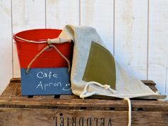 Cafe Apron NATURAL  French country  Linen / shabby chic