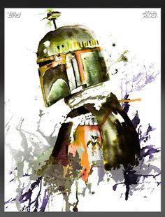 Topps Star Wars Card Trader Watercolour Boba Fett Green Variant Digital Card WOW | eBay