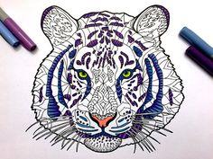 Tiger - PDF Zentangle Coloring Page