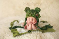 BABY BEAR Hat Newborn Photo Prop Bear Hat with Ears READY to Ship Christmas Bear Hat Green or Brown Bear Hat with Earflaps other Colors too