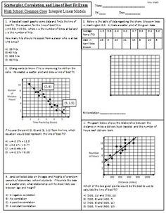 Scatter plot, Correlation, and Line of Best Fit Exam (Mrs Math) freebie
