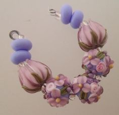 BLISS Amethyst Delight Wild Blossom Abundance and Tulip Lampwork Bead    blissfulgardenbeads - Jewelry on ArtFire