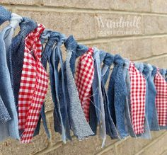 Denim Red Gingham Garland, Western Party Decor, Cowboy Party, I Do BBQ Banner, B. Gingham Fabric, Red Gingham, Gingham Party, Gingham Decor, Denim Party, Denim Decor, Burlap Fabric, Blue Party, Denim Fabric