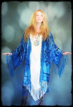 Serene Silk FRINGE Long KIMONO turquoise teal lace effect devore duster opera Deco Gatsby hippie Sheer Mucha Stevie Nicks BOHO gypsy osfa