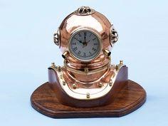"""Copper Divers Helmet Clock 12"""""""