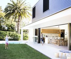 The dramatic box extension flows out into the newly landscaped rear garden. Childrens table and stools from [Mark Tuckey]( [object Object] Style At Home, Australian Homes, Indoor Outdoor Living, Outdoor Rooms, Home Fashion, Exterior Design, Future House, Beach House, Architecture Design