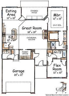 This inviting ranch style home with a small footprint (House Plan #120-2055) has over 1490 square feet of living space. The one story floor plan includes 2 bedrooms.